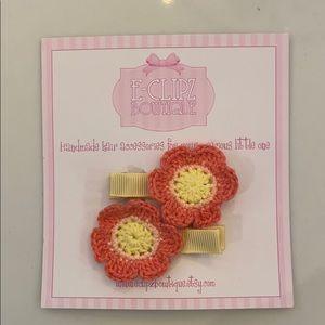Other - New handmade crochet flower pair girl's hair clips